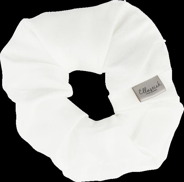 scrunchie met witte stof en een luxe uitstraling