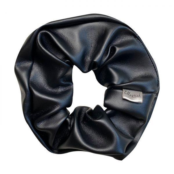 zwart leren scrunchie