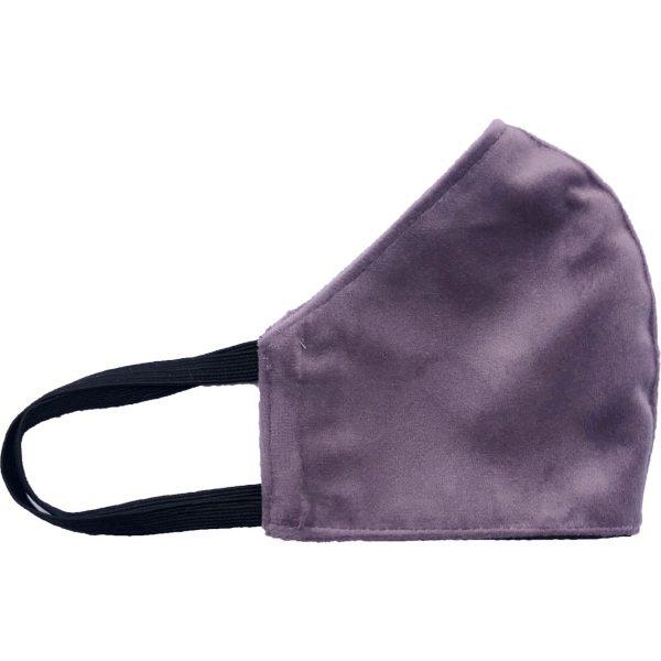 zijkant mondmasker velvet met de kleur lila