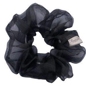 een scrunchie met als stof organza en met de kleur zwart