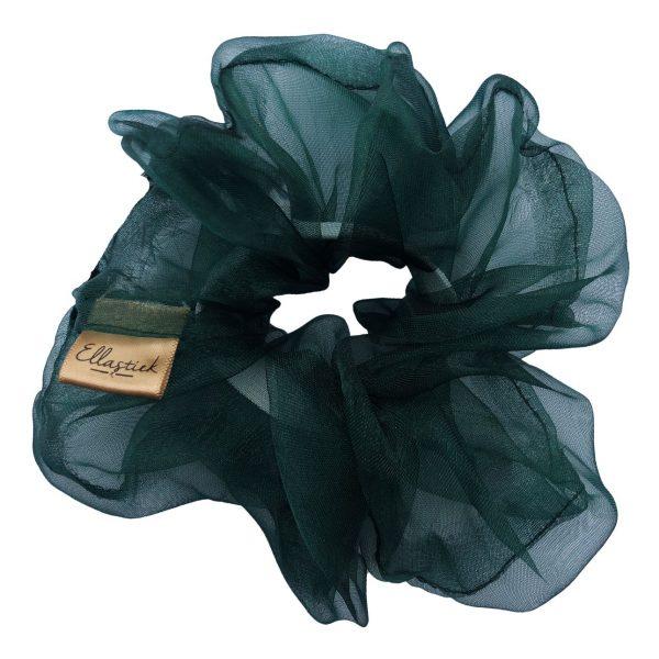 een scrunchie met als stof organza en met de kleur donkergroen