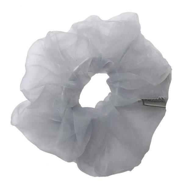scrunchie van de stof organza met als kleur wit
