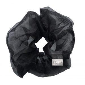 scrunchie met als stof organza en met als kleur zwart