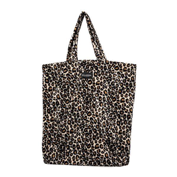 voorkant van de XL tas met zachte stof en panterprint