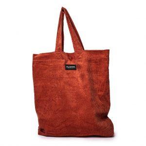 voorkant van de XL tas van ribstof in de kleur terracotta met het logo aan de voorkant
