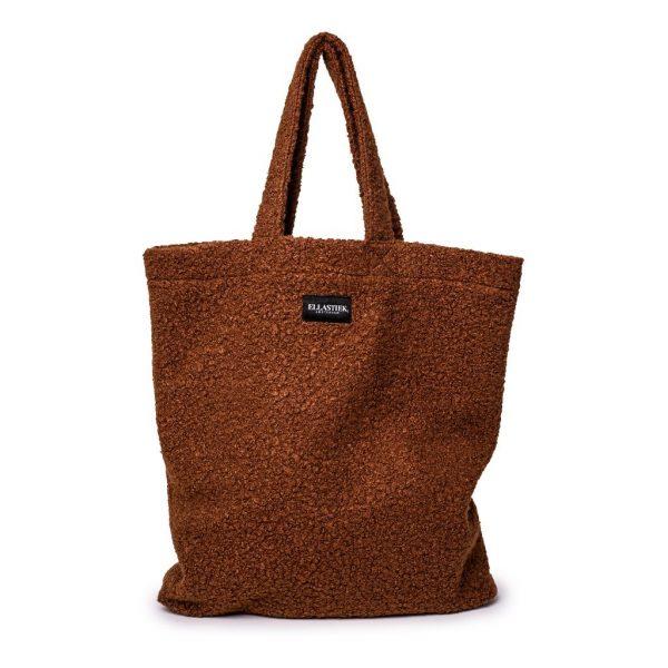 voorkant van de XL tas van teddy stof in de kleur bruin