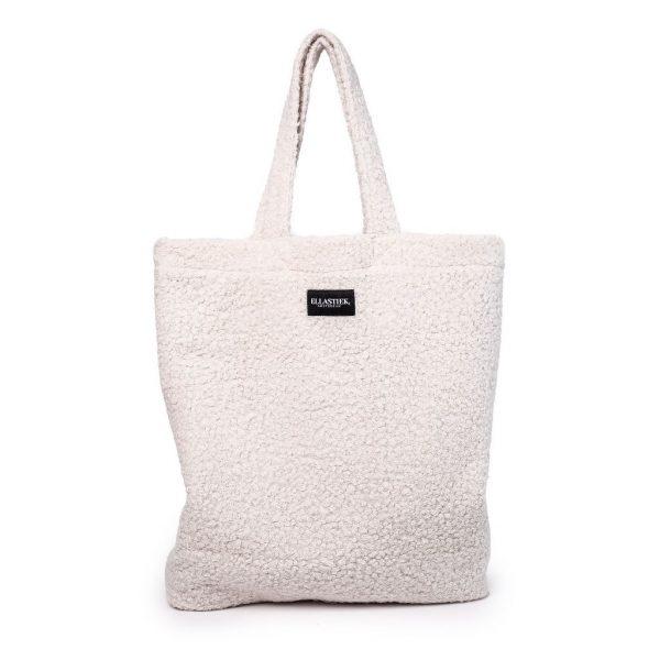 voorkant van de XL tas van teddy stof in de kleur wit met de twee hendels