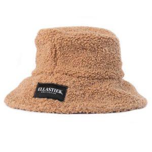 reversible bucket hat met teddy stof in de kleur Beige en met het logo op de voorkant
