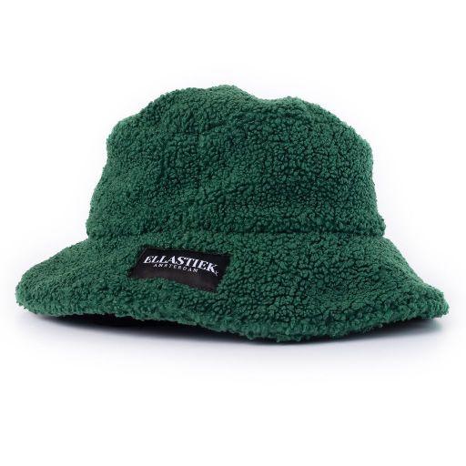 Reversible bucket hat met teddy stof van de kleur groen met het logo op de voorkant