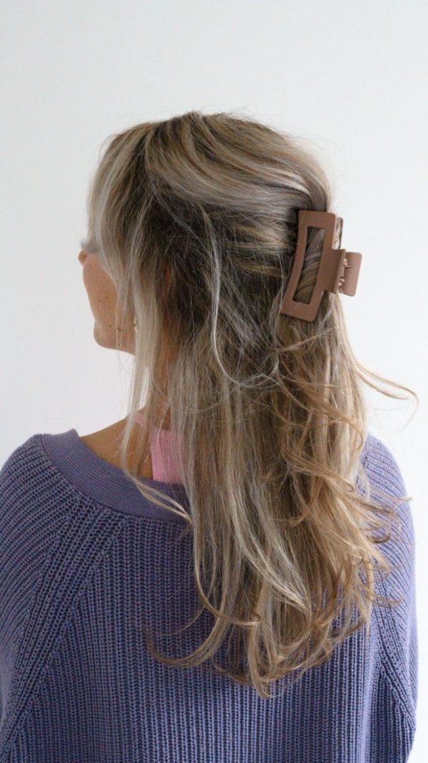 haarklem, haarclip, bruin, beige