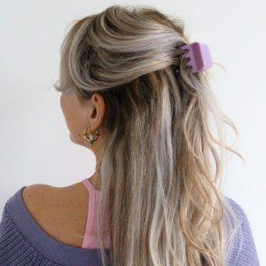 lila haarclip, paarse haarclip